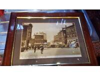 ANTIQUE OAK FRAMED OLD PICTURE HANLEY MARKET SQUARE