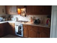 Used Complete Solid Wood Kitchen with Appliances, oven & hob, dishwasher & built in larder fridge