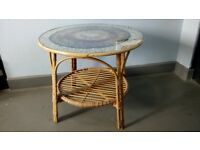 Bamboo and Glass Topped Coffee Table with Circular Feather Shaped Design - Good Clean Condition!