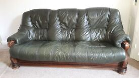 Solid Three Seater Leather Settee