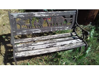 Unusual Childs garden bench in good used condition.