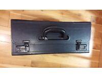Black leather flight case