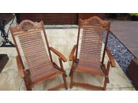 2 hand made solid wood deck chairs
