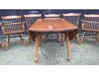 Solid Maple Drop Leaf Round Vintage Dining Table & Eight Chairs *FREE DELIVERY* (oak beech pine)