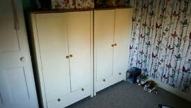 Cream and pine wardrob and bedside cubard
