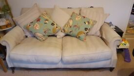 3 seater sofa cream feather cushions