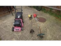 2x strimmers petrol and petrol mower £40 the lot