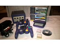 Gamecube console, controllers, zelda, pokemon, mario, wario and more games