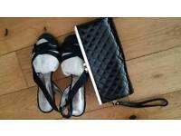 Women's elegant size 4 black heels plus clutch - both for £4