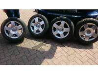 "SET OF AUDI 16 "" ALLOYS 5 STUDS WITH CAPS / EXCELLENT TYRES"