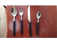 Sainsbury's 16 piece black cutlery and 4 glasses