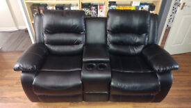 Two Seater Console Recliner - Black