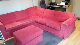 Ikea corner sofa in red