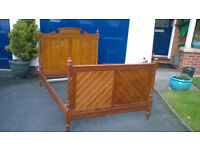 VINTAGE PITCH PINE FRENCH DOUBLE BED