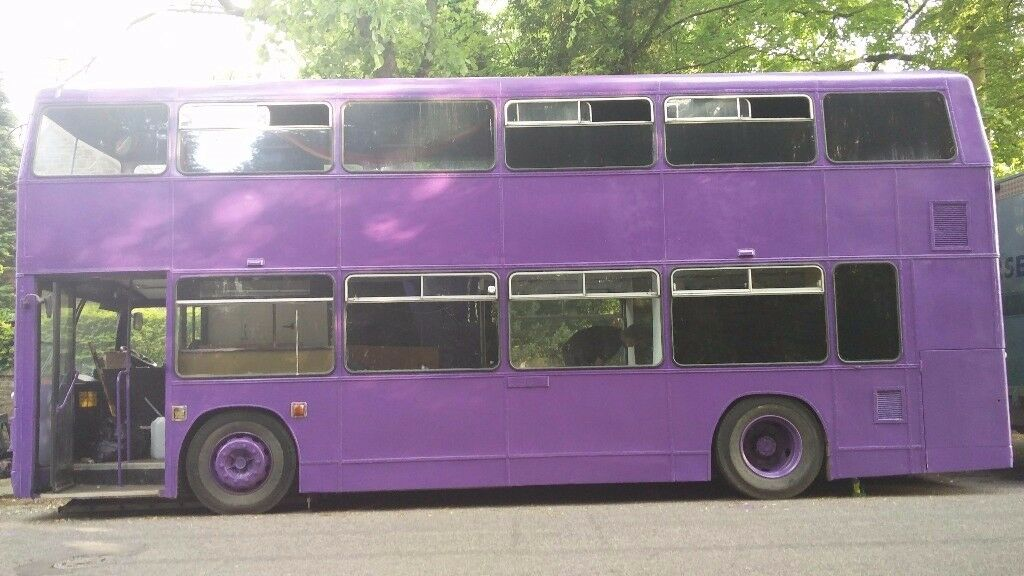 Double-decker bus / converted camper. Anyone can drive on a standard car licence