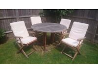 Teak Garden Furniture Set - Table & 4 Chairs with cream covers