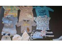 bundle of baby boy clothes (newborn)