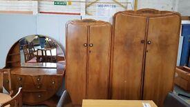 Vintage large wardrobe, double wardrobe and dressing table set
