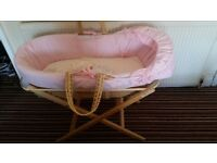 Pink moses basket with mattress and stand