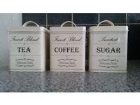 Tea, Coffee & Sugar Set of Canisters