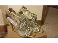 Gold and Silver Jewelled Front Encrusted Miss N size 5 Shoes
