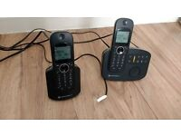 Twin Motorola cordless house phones with answerphone