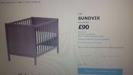 IKEA cot - with mattress (brown) at a throwaway price - sundvik
