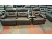 Three and one seater brown leather recliner sofa
