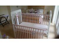 Pink & White babies cot & Mattress