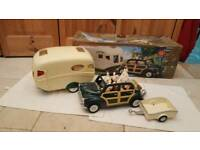 Sylvanian Families Caravan, Car and Trailer