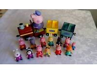 Peppa pig figures and talking train