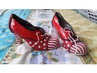 Irregular choice ladies stars and stripes red heels size 40 uk 6.5