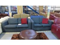 PRE OWNED 3 Seater Sofa + 2 Seater Sofa in Grey Fabric