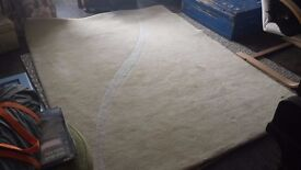 Pure wool rug hand tufted Indian 7ft x 5ft cream/sand