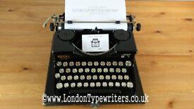 1926 Working Royal 'P' Model Manual Typewriter - New Ribbon, Case - Black