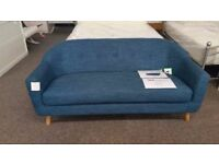 Ex Display Made Lottie 3 Seater Blue Sofa **CAN DELIVER**