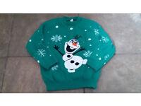Green Olaf Christmas Jumper 5-6 Y