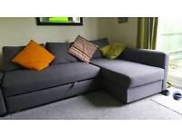 Grey 3 seater Ikea corner sofa bed