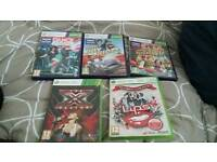 Mixture of games and xbox 360 console