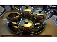 """""""OLD - STYLE, STAINLESS STEEL TEA SERVICE, WITH TRAY"""""""