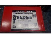 Self Concrete Lightning Thunderbolt Trox Head Bolt M6 X 150Mm With Bit QTY 100