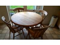 Solid wooden kitchen table and 4 chairs