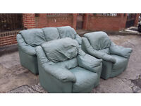 light green 3 seater leather sofa with 2 armchairs