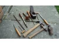Various types of vintage tools
