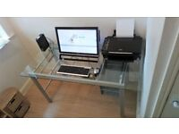 Clear Thick Glass Office Desk.