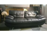 Black Designer Leather Sofa With Chrome legs very comfy very smart clean can delivery is free