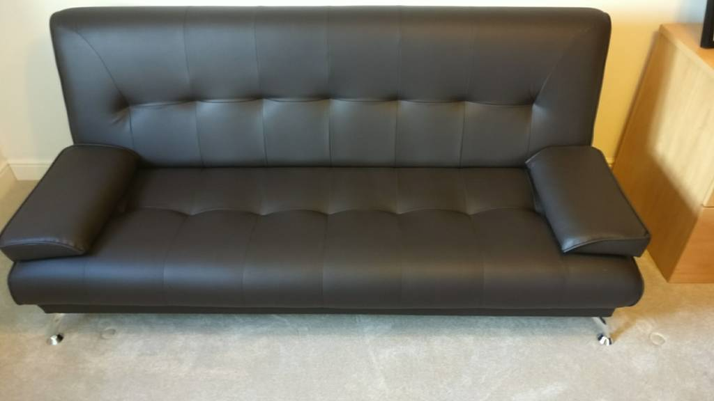 Brown Luxury Faux Leather Sofa Bed