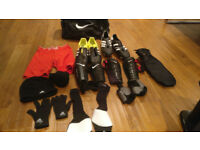 Adidas kaiser 5 num 10 UK another adidas boots, metasox socks, shin pads, a bag
