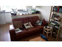 3-seat Brown Leather Sofa