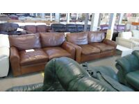 PRE OWNED 3 Seater Sofa + 2 Seater Sofa in Vintage Brown Leather